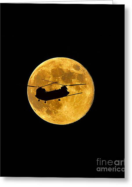 Helicopter Photographs Greeting Cards - Chinook Moon Color Vertical Greeting Card by Al Powell Photography USA