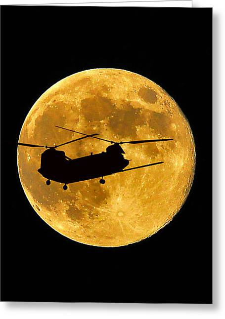 Lunation Greeting Cards - Chinook Moon Color Vertical Greeting Card by Al Powell Photography USA