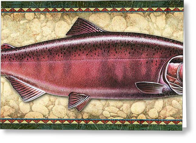 Salmon Paintings Greeting Cards - Chinook Spawning Panel Greeting Card by JQ Licensing