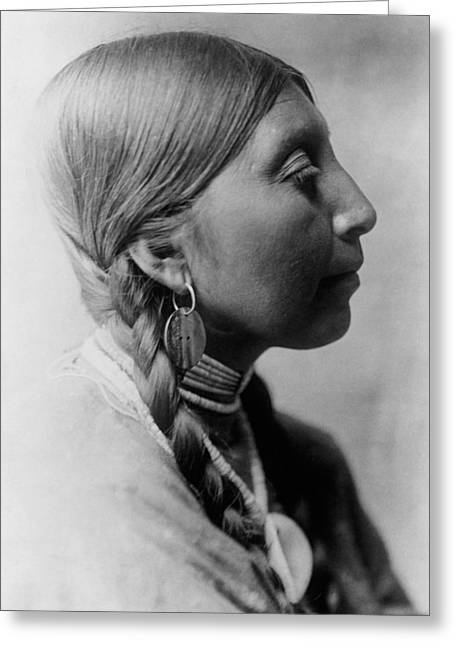 Braids Greeting Cards - Chinookan indian woman circa 1910 Greeting Card by Aged Pixel