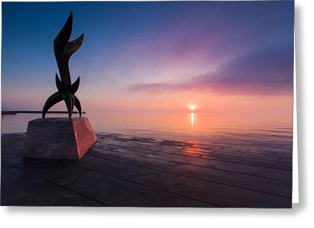 Plaka Greeting Cards - Chios Harbor 2 Greeting Card by Emmanuel Panagiotakis
