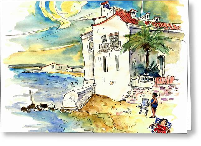 Atlantic Beaches Drawings Greeting Cards - Chipiona Spain 03 Greeting Card by Miki De Goodaboom