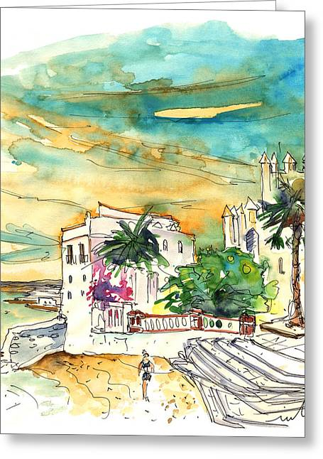 Atlantic Beaches Drawings Greeting Cards - Chipiona Spain 04 Greeting Card by Miki De Goodaboom