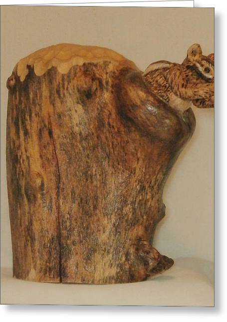 Woodcarving Sculptures Greeting Cards - Chipmunk in Stump Greeting Card by Russell Ellingsworth