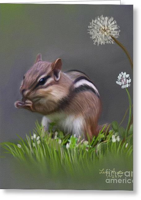 Chipmunk Greeting Card by Lena Auxier