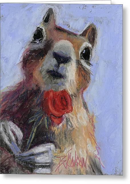 Valentine Pastels Greeting Cards - Chipmunk Romance Greeting Card by Billie Colson