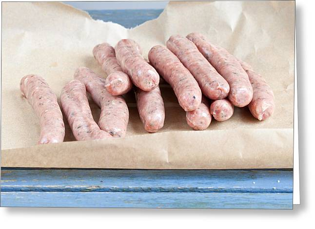 Barbeque Greeting Cards - Chipolatas Greeting Card by Tom Gowanlock