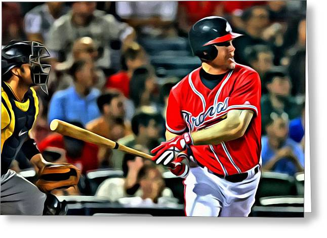 Chipper Greeting Cards - Chipper Jones Canvas Greeting Card by Florian Rodarte