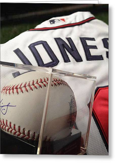 Baseball Pyrography Greeting Cards - Chipper Jones Greeting Card by KWC Art