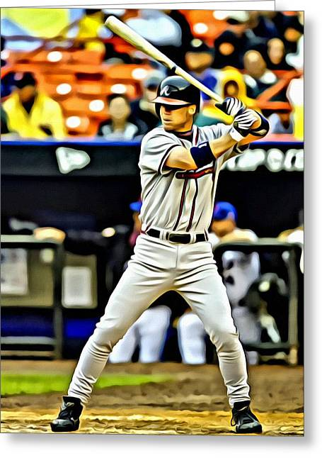 Chipper Greeting Cards - Chipper Jones Painting Greeting Card by Florian Rodarte
