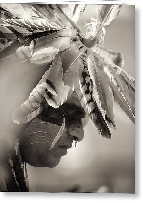 Native American Spirit Portrait Greeting Cards - Chippewa Indian dancer Greeting Card by Dick Wood