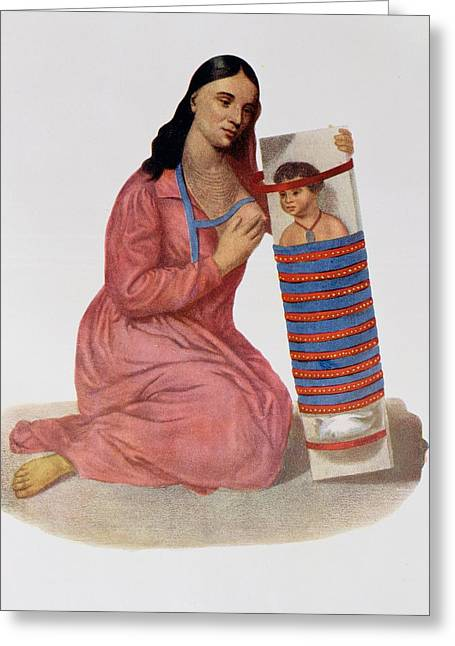 Tribe Greeting Cards - Chippeway Mother And Child, 1826, Illustration From Indian Tribes Of North America, Vol.1 Greeting Card by James Otto Lewis