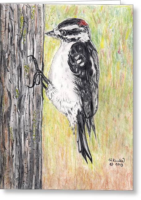 Pecking Drawings Greeting Cards - Chipping Away Greeting Card by Heidi Kunkel