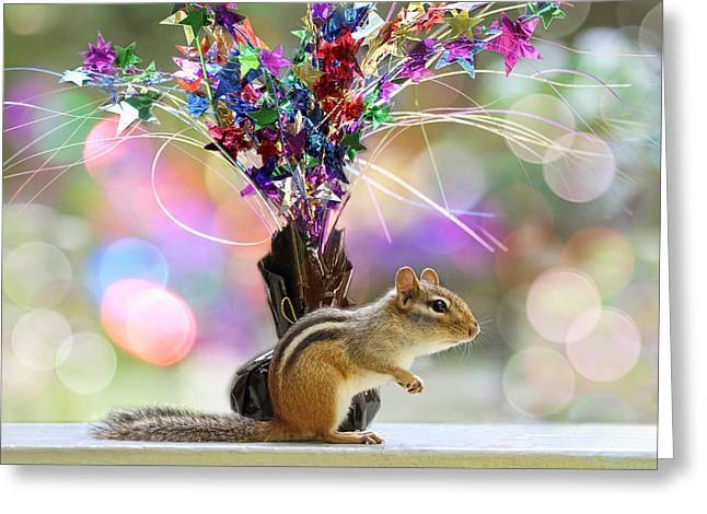 Wildlife Celebration Greeting Cards - Chippy Party Time Greeting Card by Peggy Collins