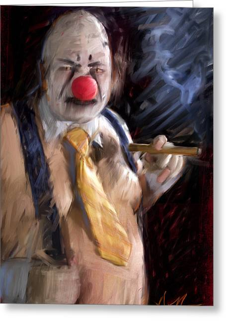 Scary Clown Greeting Cards - Chippy the Clown Greeting Card by H James Hoff