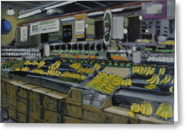 Grocery Store Paintings Greeting Cards - Chiquita Lost her appeal Greeting Card by David Zimmerman
