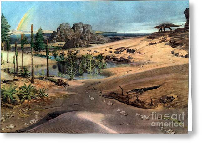 Chirotherium In Lower Triassic Landscape Greeting Card by Science Source