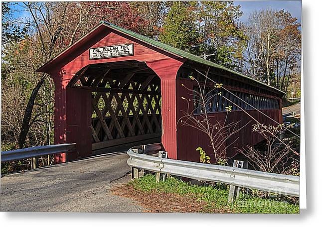 Lattice Greeting Cards - Chiselville Covered Bridge Greeting Card by Edward Fielding