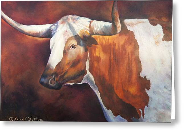 Recently Sold -  - Steer Greeting Cards - Chisholm Longhorn Greeting Card by Karen Kennedy Chatham
