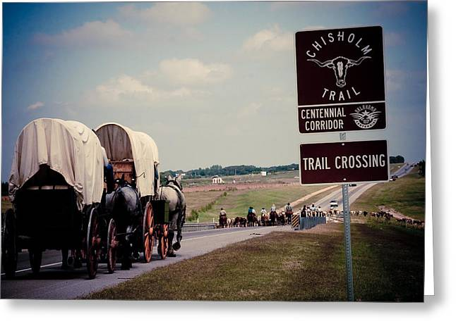 Cattle Photographs Greeting Cards - Chisholm Trail Centennial Cattle Drive Greeting Card by Toni Hopper