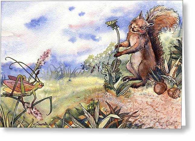 Enterprise Paintings Greeting Cards - Chitterchat and Skippit chat Greeting Card by Sarah Kovin Snyder