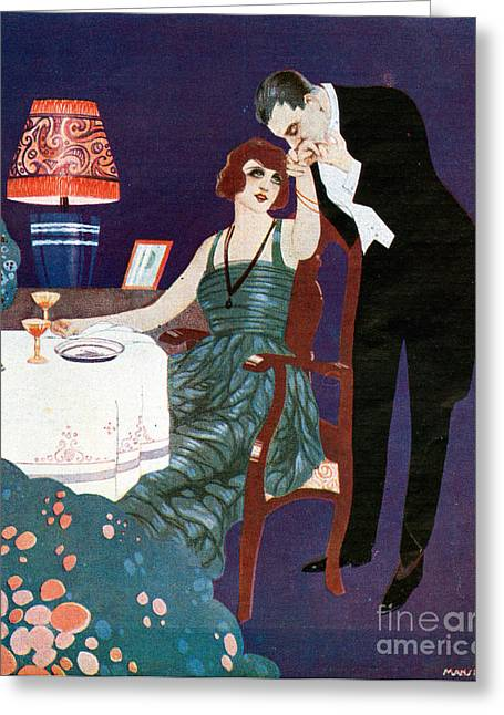 Twentieth Century Greeting Cards - Chivalry 1920s Spain Cc Dining Lamps Greeting Card by The Advertising Archives