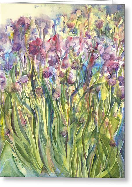Lynne Bolwell Greeting Cards - Chives Surprise Greeting Card by Lynne Bolwell