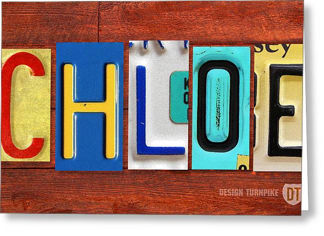 Chloe License Plate Name Sign Fun Kid Room Decor Greeting Card by Design Turnpike