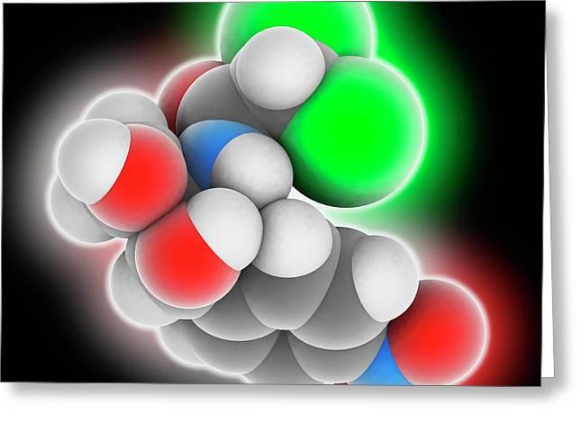 Chloramphenicol Drug Molecule Greeting Card by Laguna Design