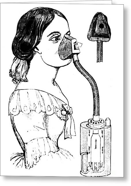 Chloroform Greeting Cards - Chloroform Inhaler, 1858 Greeting Card by Granger