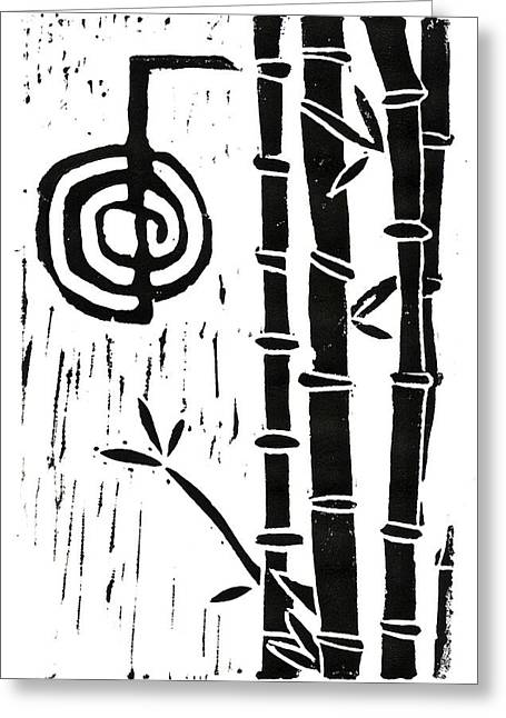 Lino Cut Mixed Media Greeting Cards - Cho Ku Rei and Bamboo Greeting Card by Lynn-Marie Gildersleeve