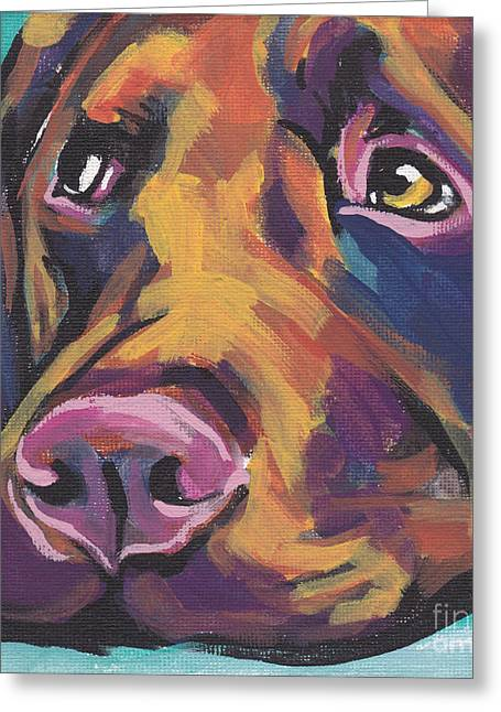 Labrador Greeting Cards - Choco Lab Love Greeting Card by Lea