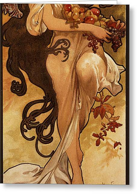 Grape Print Greeting Cards - Chocolat Masson, 1897 Lithograph In Colours Greeting Card by Alphonse Marie Mucha