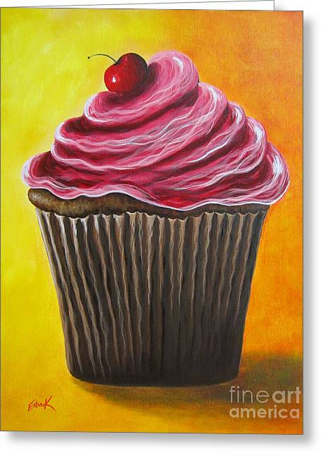 Celebration Art Print Greeting Cards - Chocolate Banana Cupcake by Shawna Erback Greeting Card by Shawna Erback