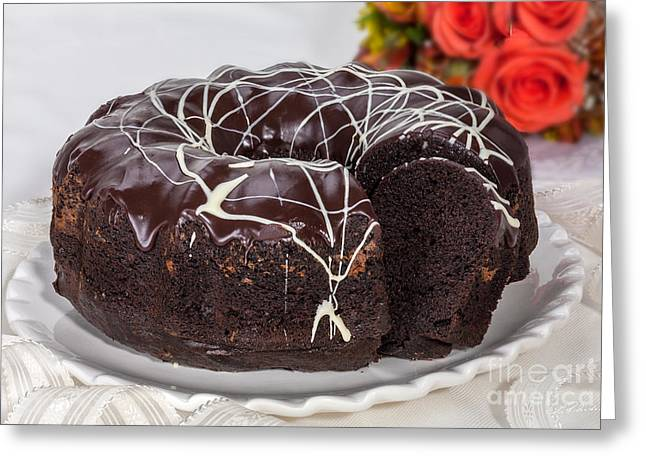 Mothersday Greeting Cards - Chocolate Bundtcake with Roses Greeting Card by Iris Richardson