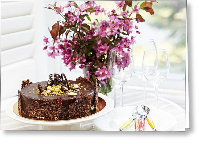 Cakes Greeting Cards - Chocolate cake with flowers Greeting Card by Elena Elisseeva