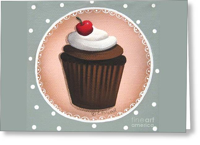 Frosting Greeting Cards - Chocolate Cherry Chip Cupcake Greeting Card by Catherine Holman