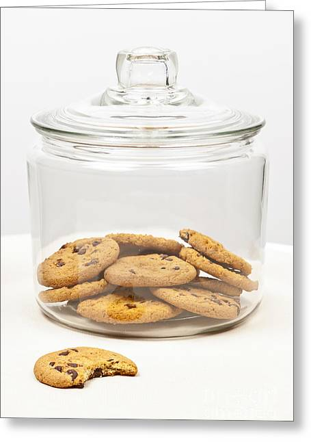 Lids Greeting Cards - Chocolate chip cookies in jar Greeting Card by Elena Elisseeva