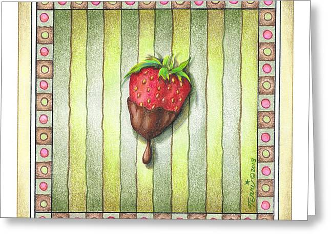 Chocolate Covered Strawberry Greeting Card by Pop Art Diva