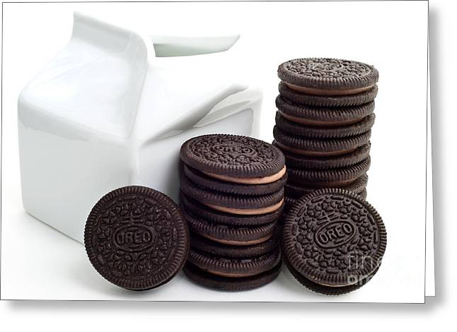 Dunk Cookies Greeting Cards - Chocolate Cream Oreos And Milk Greeting Card by Andee Design