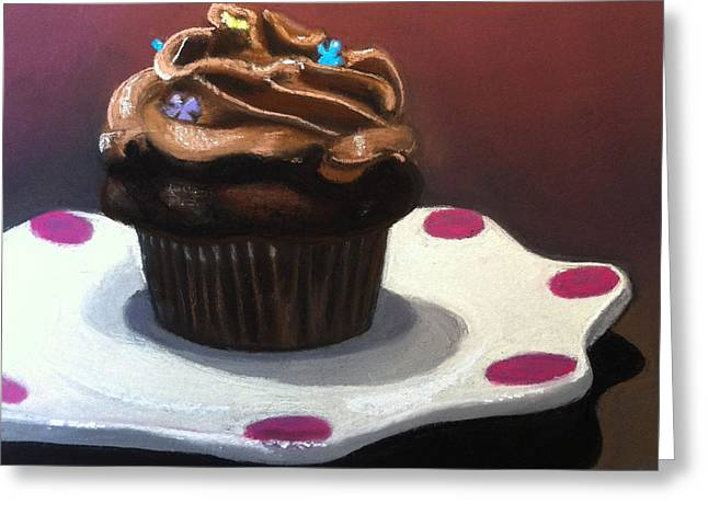 Cupcakes Greeting Cards - Chocolate Cupcake Greeting Card by Cristine Kossow