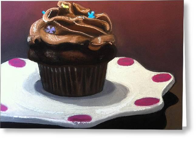 Cupcake Paintings Greeting Cards - Chocolate Cupcake Greeting Card by Cristine Kossow