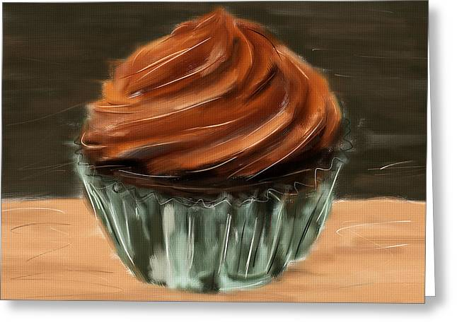Food Digital Art Greeting Cards - Chocolate Cupcake Greeting Card by Lourry Legarde