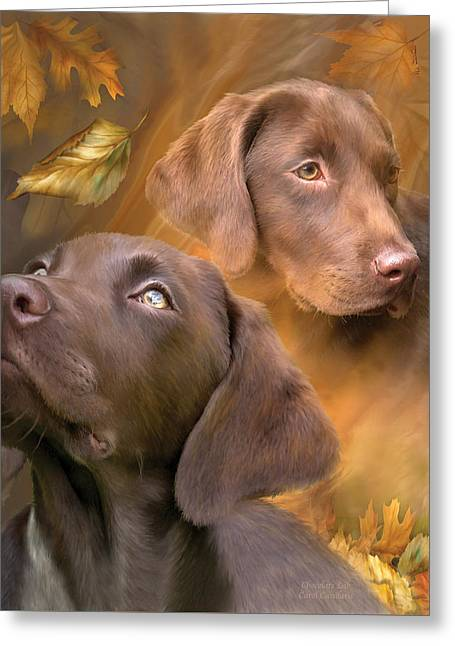 Chocolate Lab Greeting Card by Carol Cavalaris
