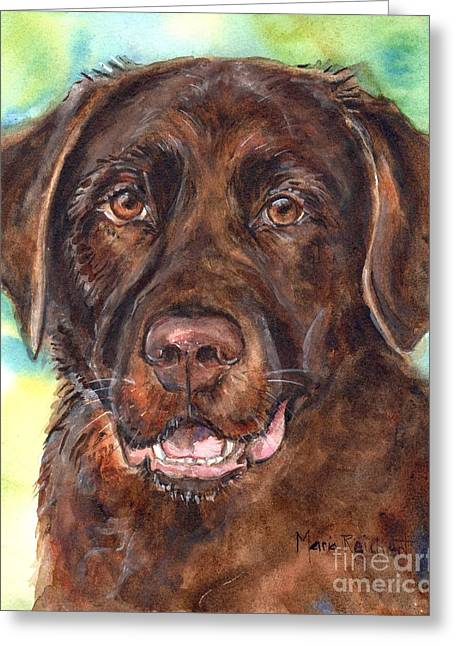 Chocolate Lab Greeting Cards - Chocolate Lab Greeting Card by Maria