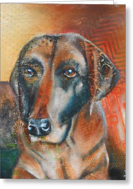 Chocolate Lab Greeting Cards - Chocolate Lab Mixed media contemporary  Greeting Card by Susan Goh