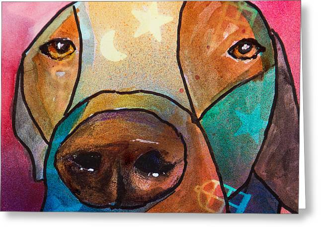 Chocolate Lab Mixed Media Greeting Cards - Chocolate Lab  Greeting Card by Roger Wedegis