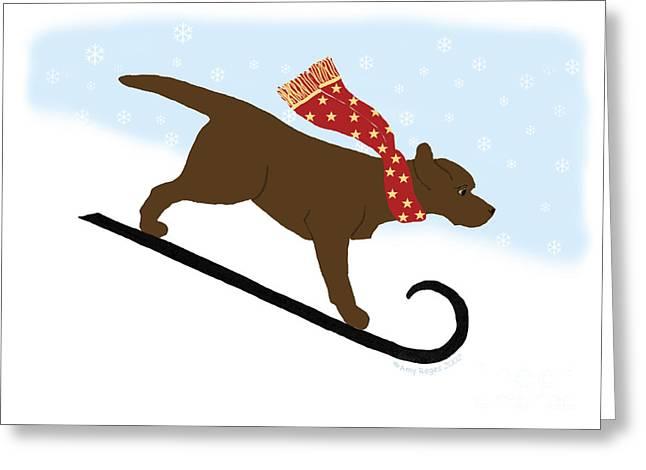 Tobogganing Digital Greeting Cards - Chocolate Labrador Snowboarding Dog Greeting Card by Amy Reges