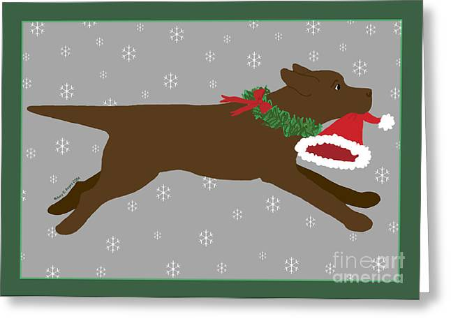 Chocolate Lab Greeting Cards - Chocolate Labrador Steals Santas Hat Greeting Card by Amy Reges