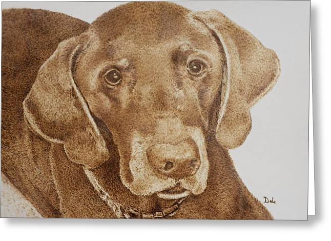 Chocolate Lab Pyrography Greeting Cards - Chocolate makes everything better Greeting Card by Dale Bradley